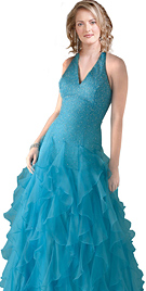 V Neck Ruffled Ball Gown