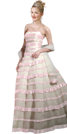 Satin Laced Organza Ball Gown