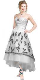 Retro Inspired Floral Embellished Gown