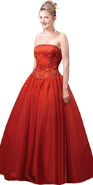 Red Beaded Corset Inspired Ball Gown