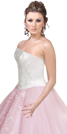 Strapless Embroidered Satin Ball Gown