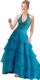 Halter Sequined Bodice Ball Gown