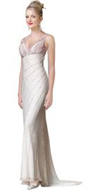 Fully Beaded Silk Chiffon Empire Dress