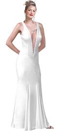 Princess V Neck Sheer Insert Silk Satin Beaded Dress