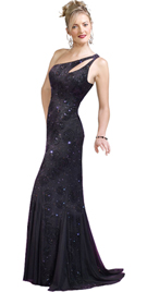 One Shoulder Chiffon Beaded Dress With Train