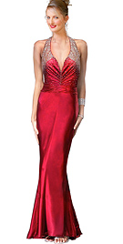 Beaded Satin Ruching Detail Halter Evening Gown