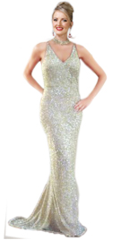 Floor Length Sequinned Beaded Gown