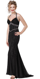 Beaded Halter Evening Gown