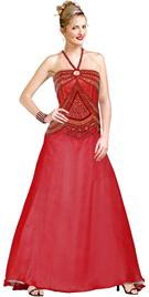 Halter Beaded Keyhole Detail Silk Chiffon Ball Gown