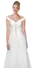 Satin Secial Occasion Wedding Gown With Off Shoulder