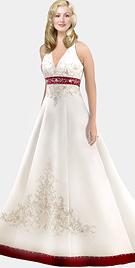V-shaped Halter Satin Bridal Gown