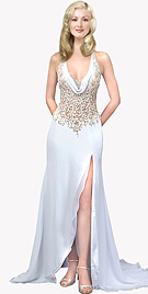 Rich Source Of Cowl Neck Chiffon Bridal Gowns available online