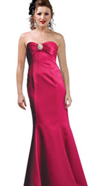 Brooch Accented Bridesmaid Dress