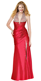 Beaded Halter Straps Valentine`s Day Gowns | Buy Deep Plunging Neckline Valentine`s Day Gowns