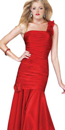 Ruched Mermaid Cut Valentines Gown