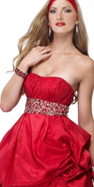 Strapless Balloon Styled Mini Valentines Dress