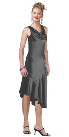 Cowl Neck Asymmetric Hemline Cocktail Dress
