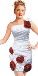 One Shoulder Rosette Strap Dress