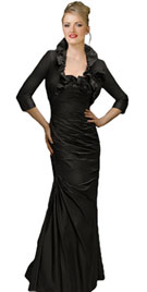 Full Length Black Bolero Evening Dress