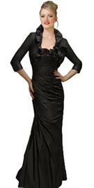 Full Length Black Bolero Evening Dress