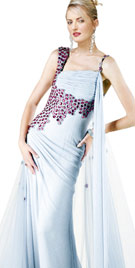 Alluring Asymmetrical Sleeved Evening Gown