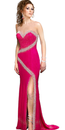 Chiffon Sweet Heart Beaded Designer Gown