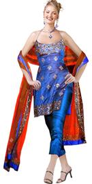 Dupion Silk Halter String Beaded Twopiece Designer Dress