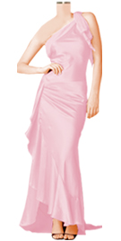 Celebrity Inspired Silk Satin One Shoulder Designer Dress
