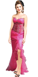 Organza Satin Sheer Embroidered Waist Dress