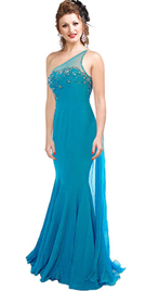 One Shoulder Chiffon Beaded Mermaid Gown