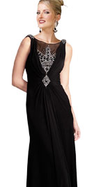 Plunging Back Jewel Adorned Evening Sheath
