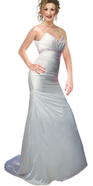 Soft silk satin A-line evening gown with delicate spaghetti straps