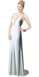 Halter A-line Silky Satin Evening Gown