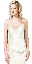 Silky Satin Waist Beaded Tie-up Evening Dress
