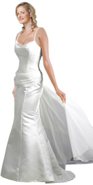 Gathered Waist Back Satin Evening Gown