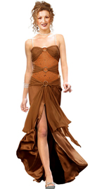 Ruched Jewel Accent Evening Gown