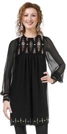 Silk Chiffon Beaded Full Sleeve Dress