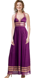 Beaded Halter Dress In Silk Chiffon