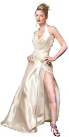 Satin Illusion Beaded Halter Evening Dress