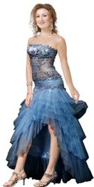 Beaded Bodice Organza Hi-Lo Skirt Dress