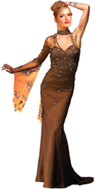 Beaded Single Sleeve Net Overlay Gown