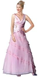 Satin Chiffon Gathered Bodice Dress