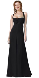 Suede Satin Gown With Twist Detail