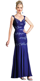 Satin Embroidered Prom Dress With Ruching