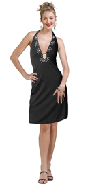 A halter neckline black dress is accentuated with a deep plunging embroidered neckline