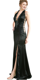 Hot Halter Plunging Neckline Gown