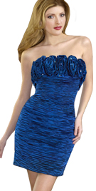 Ruche Strapless Evening Dress | Evening Party Dresses