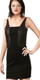 Breathtaking Backless Leather Infused Mini Dress