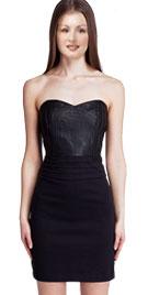 Zesty Sweetheart Neckline Leather Infused Dress
