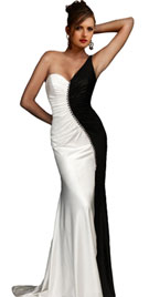 Black White One Shoulder Gown